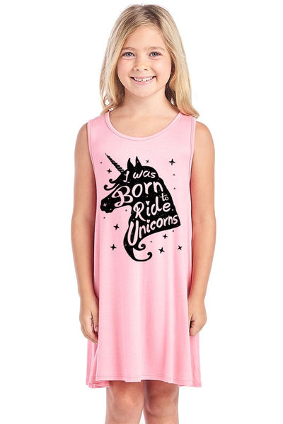 Unicorn Sleeveless Pajama Dress