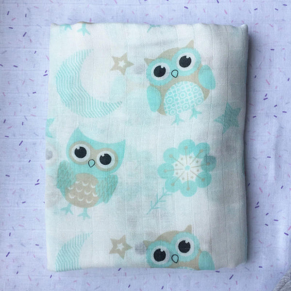 Baby Owl Bamboo Muslin Swaddle
