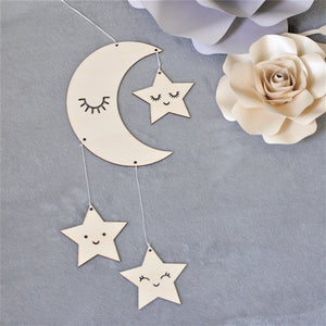 Moon and Star Wooden Wall Decor