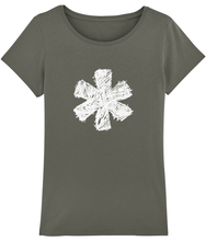 Load image into Gallery viewer, Sketch Asterisk - White - Ladies tee
