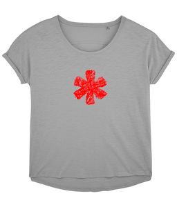 Sketch Asterisk - Red - Ladies slouch fit tee