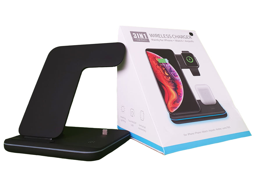 3-IN-1 Wireless charging station with packaging