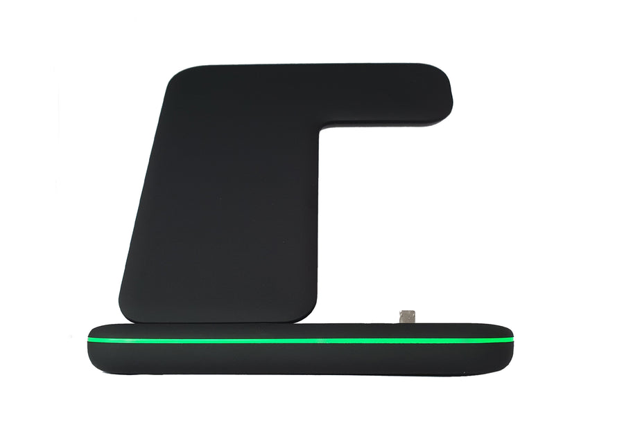3-IN-1 Wireless charging station from a front view
