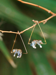 Lying Leopards Triangle Earrings