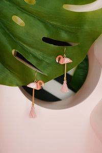 Flamingo Pompom Earrings