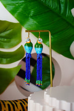 Load image into Gallery viewer, Beaded Parrot Earrings (Blue & Green)