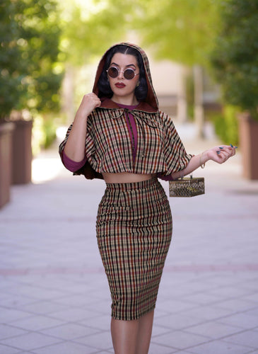 Helena Capelet set (Brown plaid)