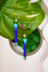 Beaded Parrot Earrings (Blue & Green)