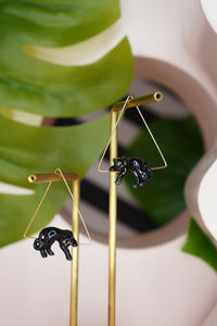 Lying Black Panther Earrings