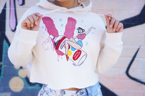 """Bomb it!"" Cropped Hoodie (Ivory)"