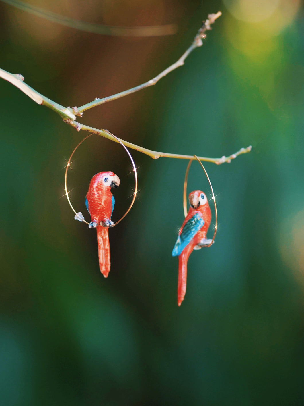 Creoles Red Parrot Earrings