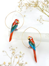 Load image into Gallery viewer, Creoles Red Parrot Earrings