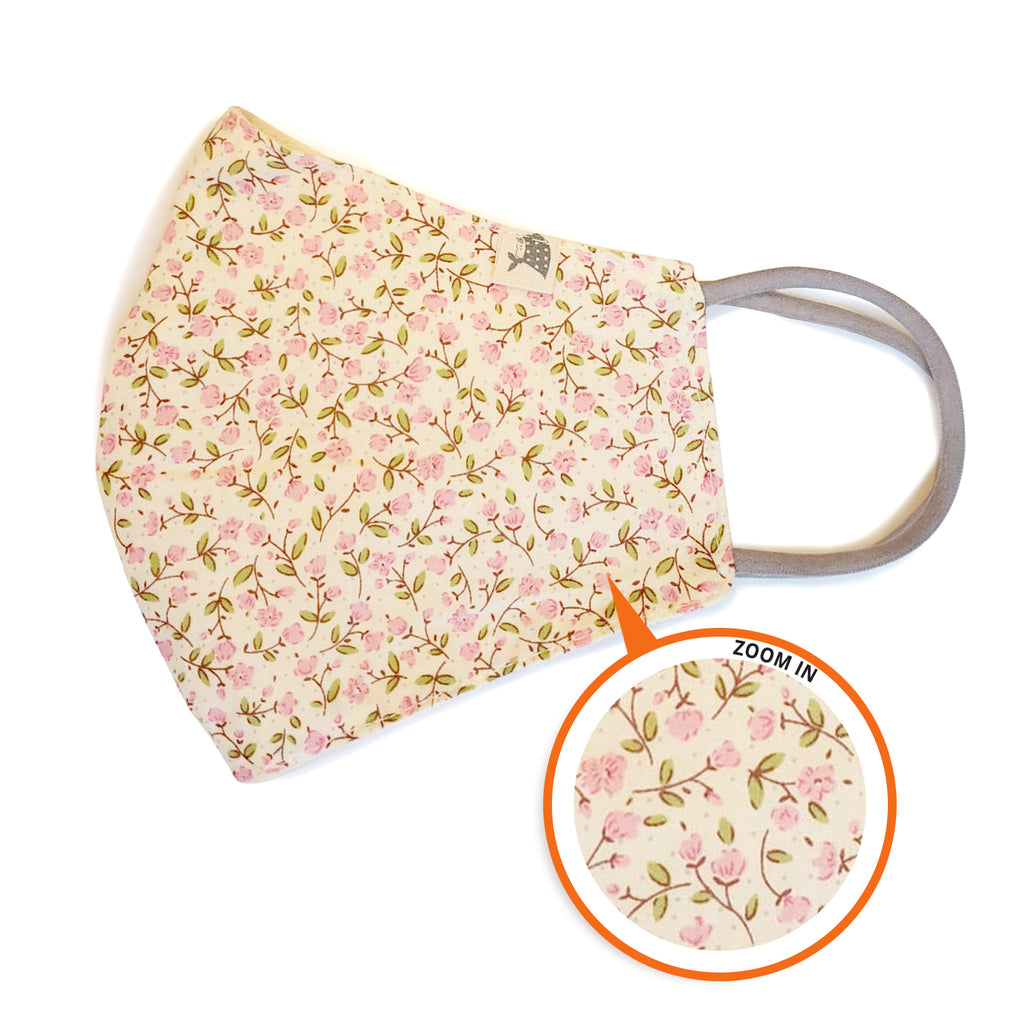 ADULTS/KIDS Reusable/washable Cotton Mask - Elastic ear loops/Contour (Country Flowers) - Ggomoosin Australia
