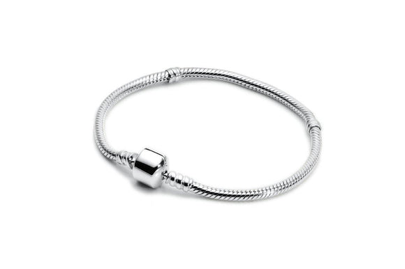 Silver Snake Bracelet with 2 Spacers Beads - The Peace Of God