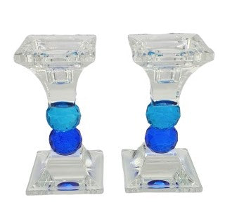 Crystal Candlesticks Blue 16.5 cm