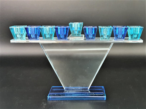 Trapezoid Crystal Menorah - Blue