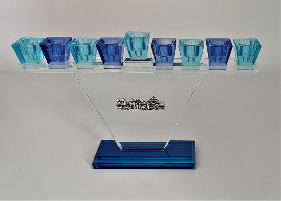 Trapezoid Crystal Menorah Azure Blue Jerusalem - Clear