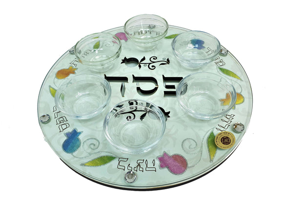 Cutout Seder Plate Glass & Wood 33 cm with Bowls - Multicolored