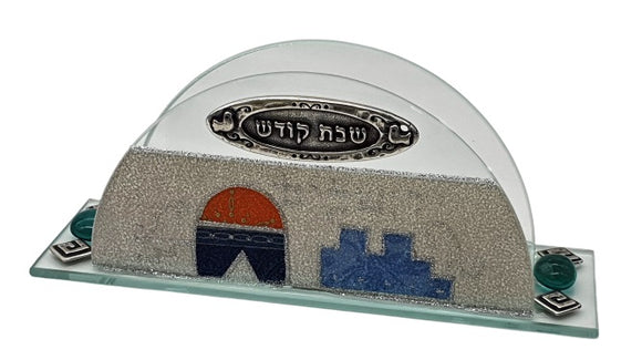 Glass Napkin Holder Blue Jerusalem - Gray