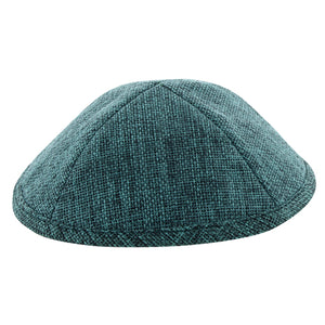 Linen Kippah 19cm- with Pin Spot- Dark Green
