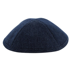Denim Kippah 19 cm- with Pin Spot- Dark Blue