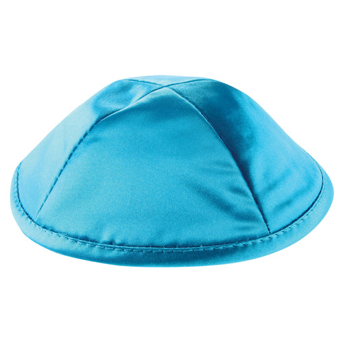 Satin Kippah Deluxe 19cm- with Pin Spot- Turquoise