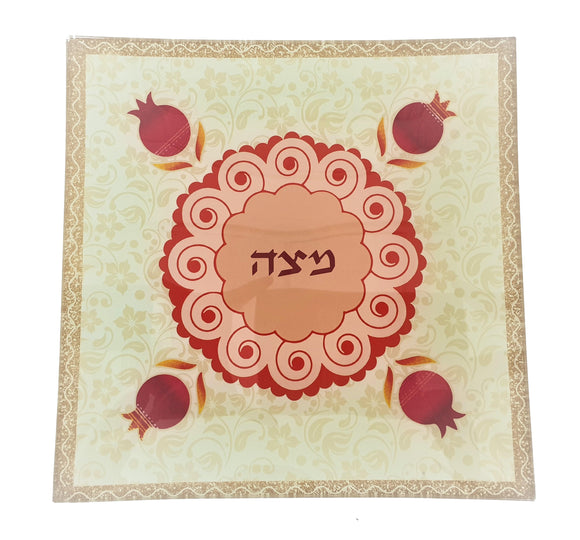 Glass Matzah Plate Red Pomegranate 25 x 25