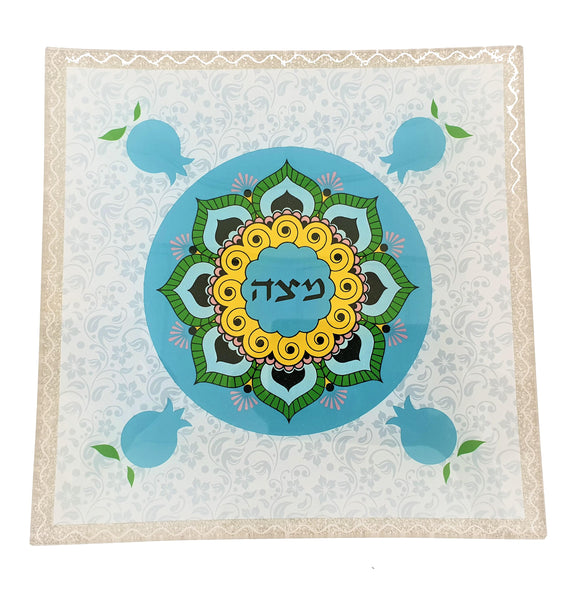 Pomegranate Glass Matzah Plate 25 x 25 Pale Blue