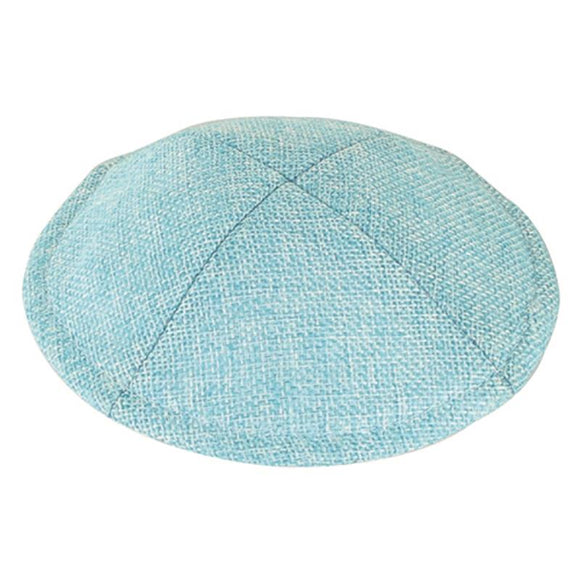 Linen Flat Kippah 15cm - with Pin Spot - Pale Blue