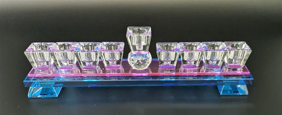Crystal Flat Menorah Blue Pink