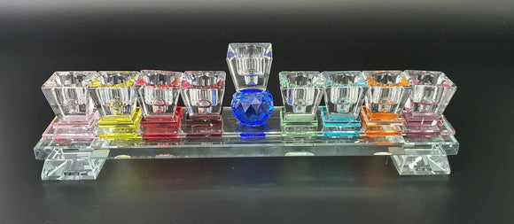 Crystal Flat Menorah Multicolored Base