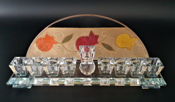 Semicircle Crystal Pomegranate Menorah