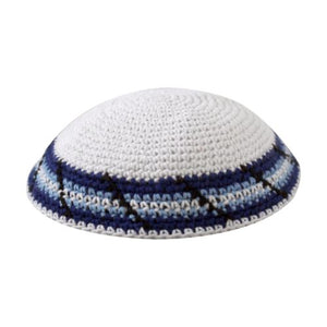 Knitted Kippah 16 cm- White with Blue, Light Blue and Black Decoration