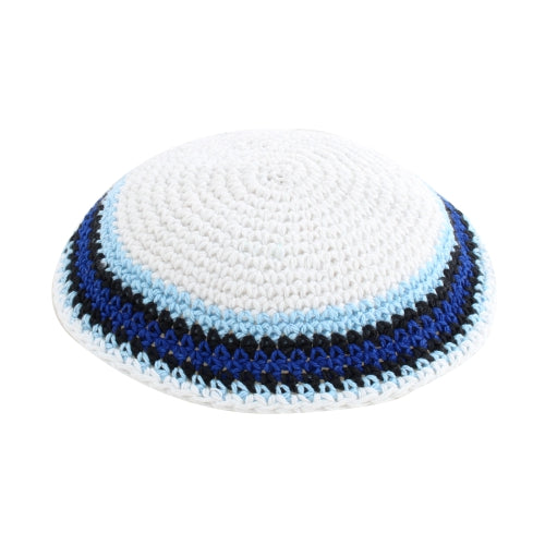Knitted Kippah 17 cm- White with Dark Blue, Black and Light Blue Stripes
