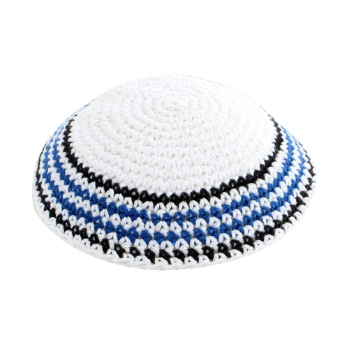 Knitted Kippah 17 cm- White with Black Blue and White Stripes