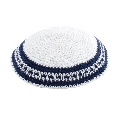 Knitted Kippah 17cm- White with Dark Blue and White Stripes