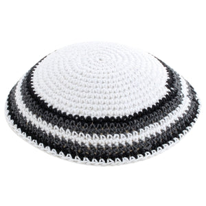 Knitted Kippah 17 cm- White with Gray, Black and White Stripes