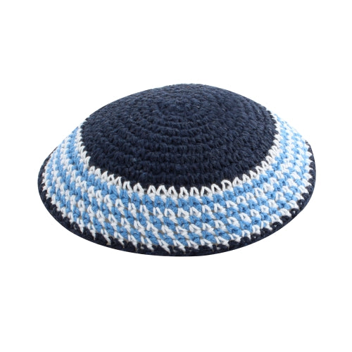 Knitted Kippah 15 cm- Dark Blue with Blue and White Stripes