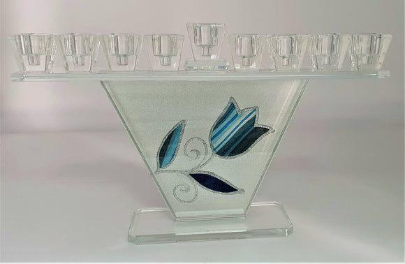 Trapezoid Crystal Menorah with Blue Tulip
