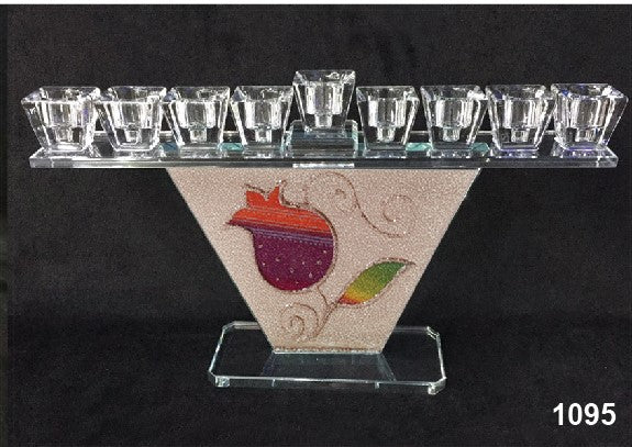 Trapezoid Crystal Menorah with Red Pomegranate