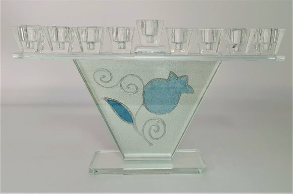 Trapezoid Crystal Menorah with Blue Pomegranate