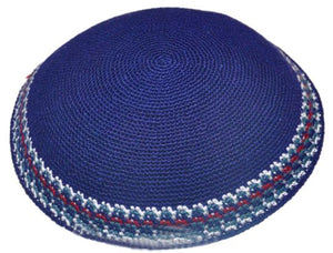 C KNITTED DMC KIPPAH 15 CM- BLUE WITH COLORS AROUND