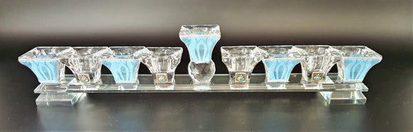 Crystal Flat Menorah - Clear & Pale Blue