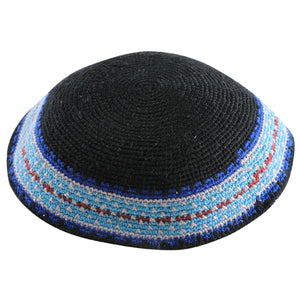 C KNITTED DMC KIPPAH 20 CM- BLACK WITH COLORS AROUND