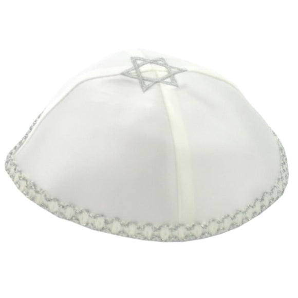 Satin Kippah 20cm- White With Star of David and silver around