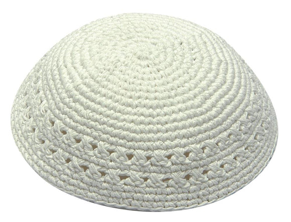 Knitted Kippah 18 cm- White with Holes