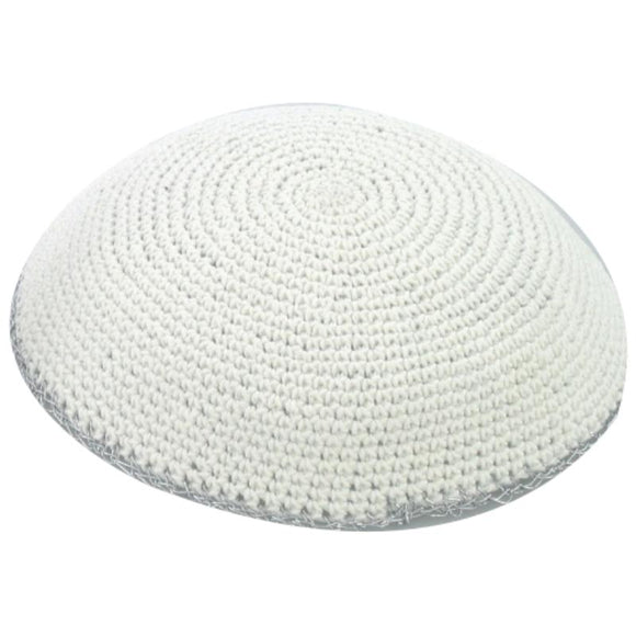 Knitted Kippah 17 cm- White with Silver Stripe