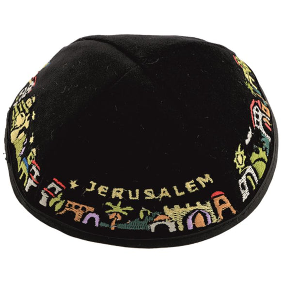 Velvet Kippah 19 cm - Jerusalem decoration- Assorted Black & Dark Blue