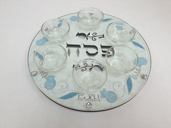 Cutout Seder Plate Glass & Wood 33 cm with Bowls - Blue