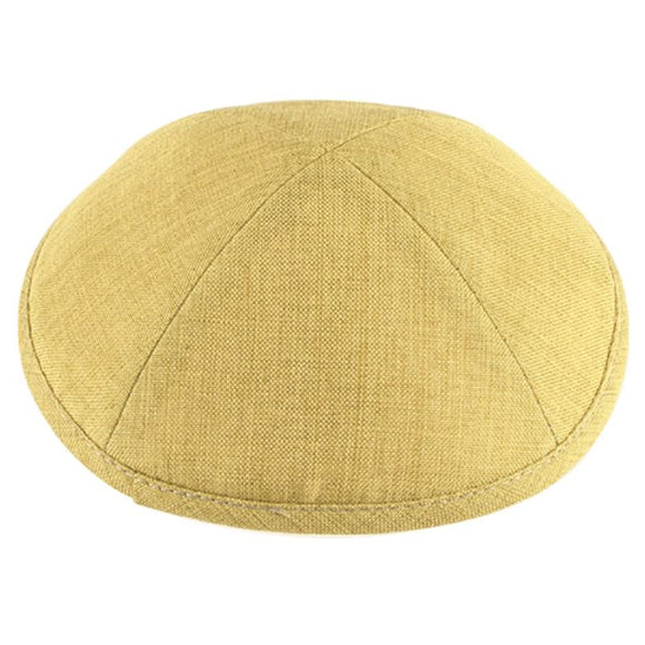 Linen Rounded Kippah 19cm- Light Green